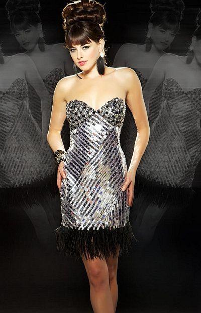 abendkleider katalog  - Couture Cocktail-Party-Kleid mit Fransen - Kurze Kleider - Abendkleider