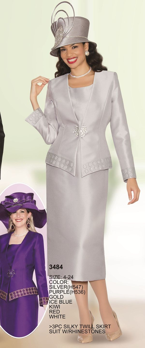 Lily And Taylor 3484 Womens 3 Piece Church Suit French