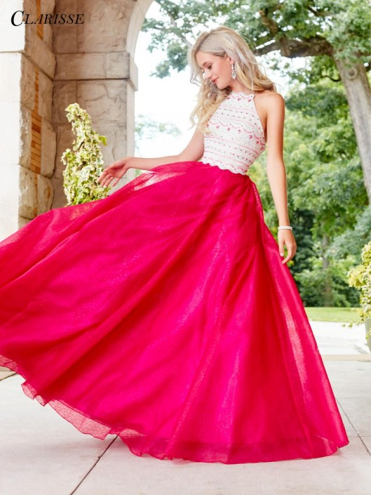 Size 2 Ivory-Fuchsia Clarisse 3507 Ball Gown with Crochet Lace ...