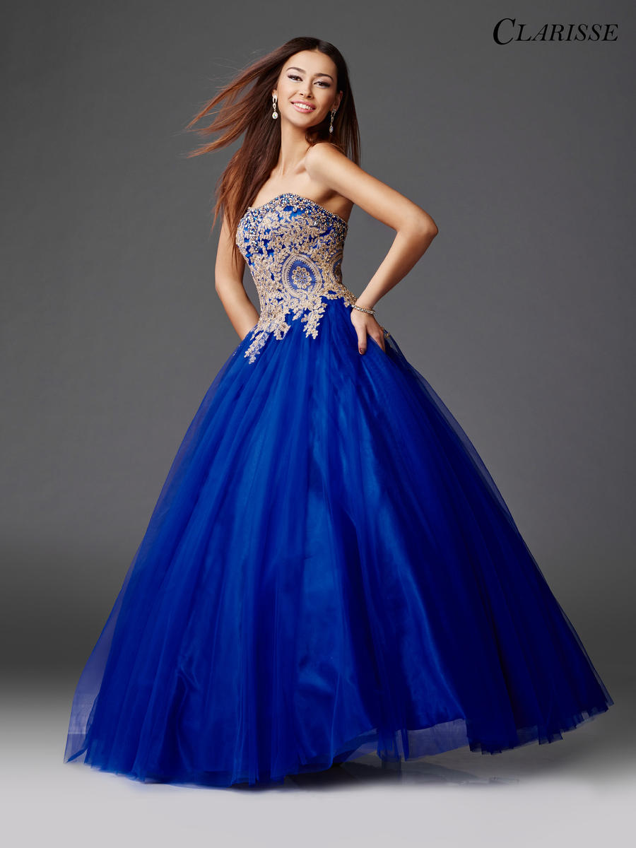 Clarisse 3508 Metallic Lace Ball Gown: French Novelty