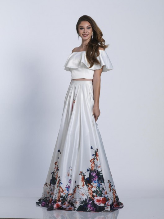 fc153fd1f24b Dave and Johnny 3516 Ruffle 2 Piece Floral Prom Dress: French Novelty
