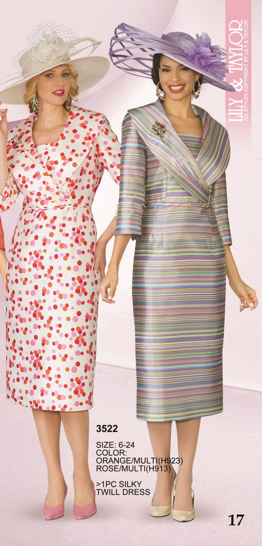 Lily And Taylor 3522 Silky Twill Print Church Dress