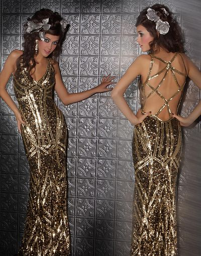 Mac Duggal Prom Antique Gold Gown With Intricate Back