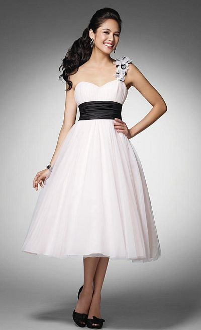 Alfred Angelo Ice Pink and Black Tea Length Prom Dress 3532S: French ...