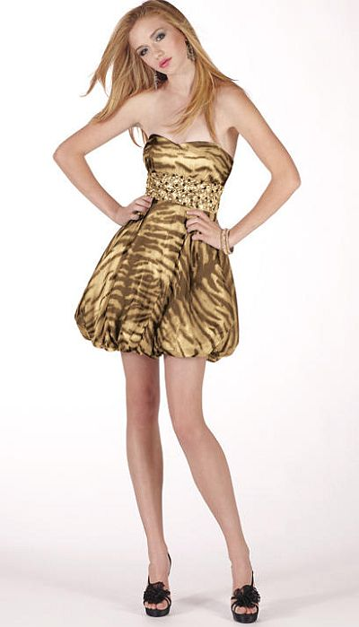 Alyce BDazzle Funky Animal Print Short Prom Dress 35488: French ...