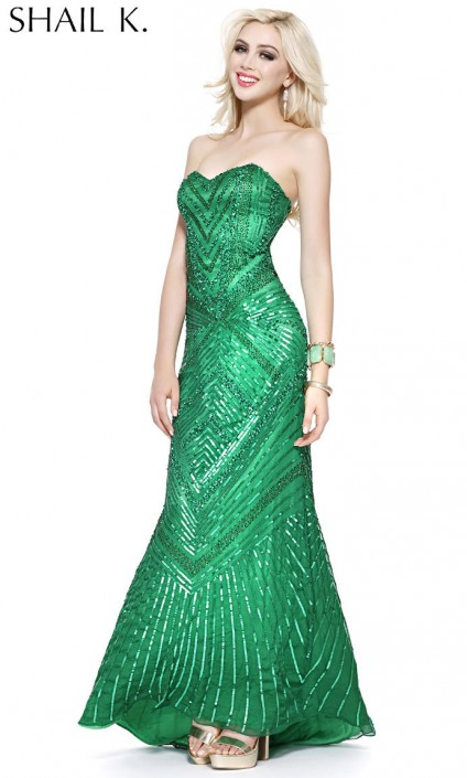 Shail K 3549 Flashy Prom Gown: French Novelty