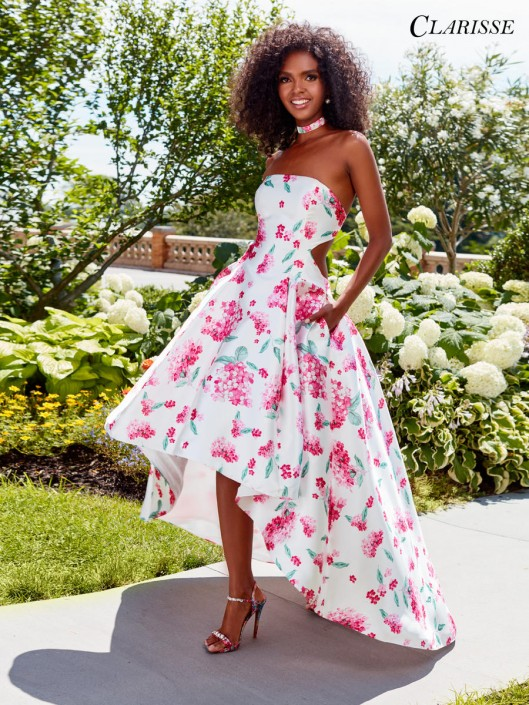 de83f7b5ce80 Clarisse 3563 High Low Floral Cutout Prom Dress: French Novelty