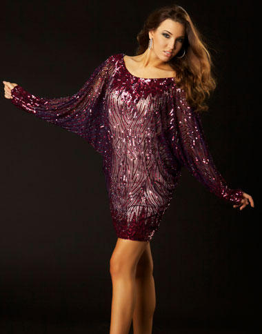 5c08a9f901b Twelve by Mac Duggal Long Sleeve Open V Back Cocktail Dress 3578T: French  Novelty