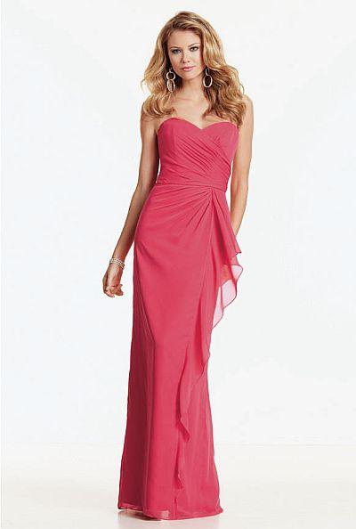 Jordan Strapless Chiffon Draped Long Bridesmaid Dress 360
