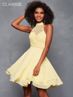 ca95a12d5c6 Clarisse 3612 High Neck Lace Chiffon Short Dress