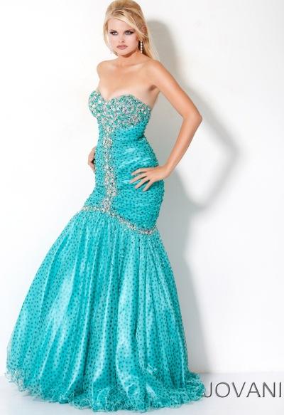 Jovani Aqua Polka Dot Long Mermaid Prom Dress 3702: French Novelty