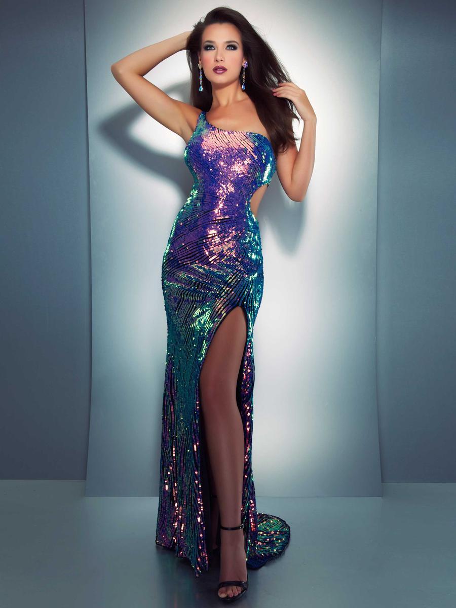 Cassandra Stone 3702A Iridescent Sequin Cutout Formal Dress ...
