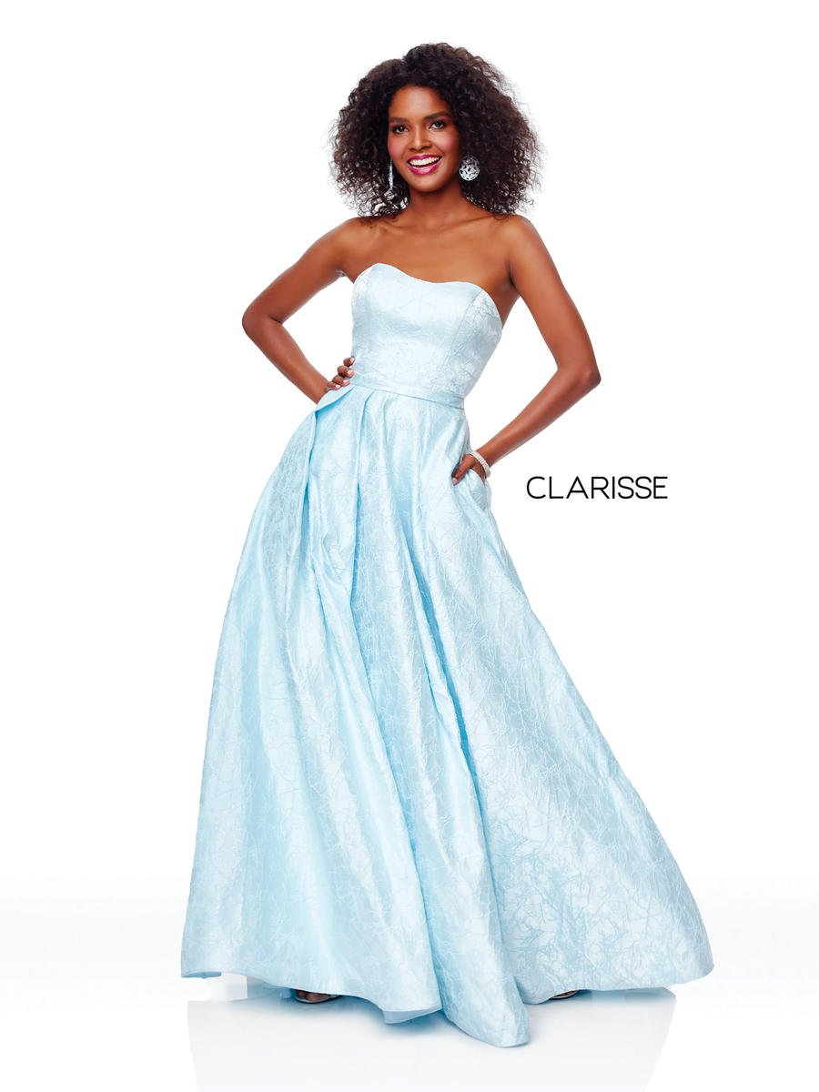 Clarisse 3705 Baby Blue Brocade Prom Dress French Novelty