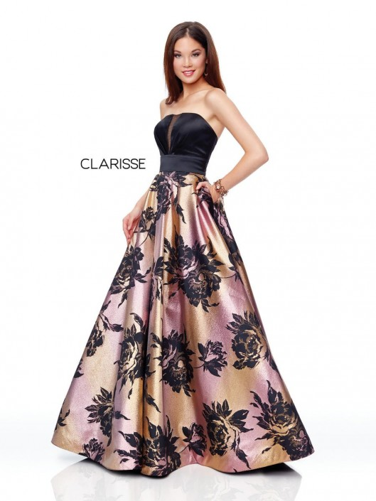 f35fbfb89c03 Clarisse 3718 Brocade Floral Prom Dress: French Novelty