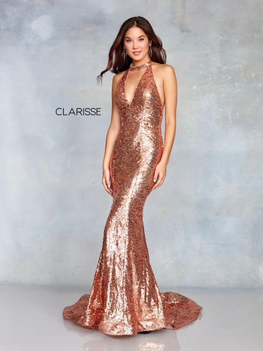 194a1beba60 Clarisse 3721 Sequin Halter Mermaid Prom Dress  French Novelty