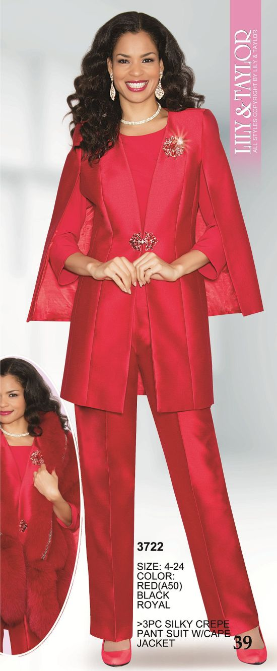 Lily And Taylor 3722 Womens Pant Suit With Cape Jacket