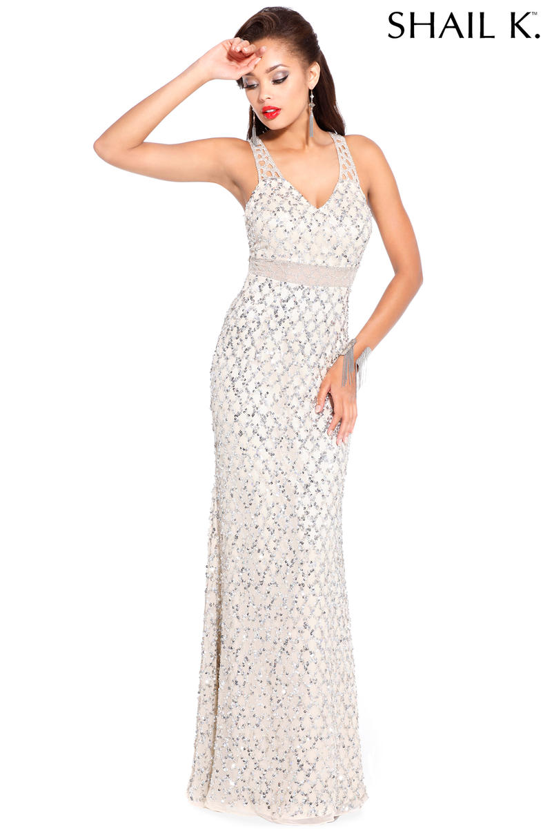 Shail K 3731 Classic Beaded Evening Gown: French Novelty