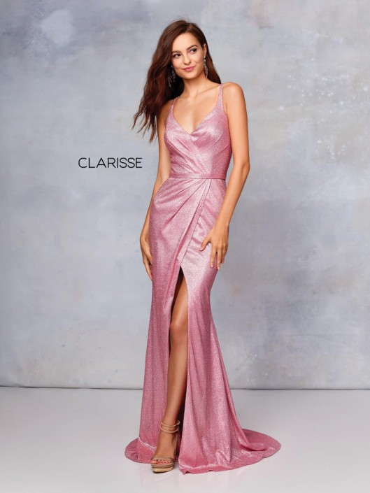 652ec27374 Size 0 Gold Clarisse 3766 Shimmering Prom Gown with High Front Slit  French  Novelty