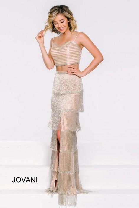 Jovani 37686 Fringe 2 Piece Prom Dress: French Novelty
