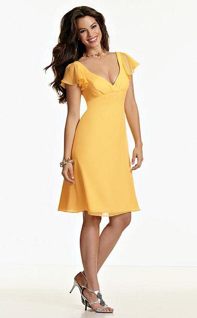 Size 12 Yellow Jordan Flutter Sleeve Short Bridesmaid