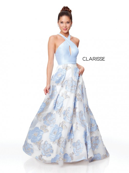 412a75798309 Clarisse 3873 Keyhole Floral Organza Prom Dress: French Novelty