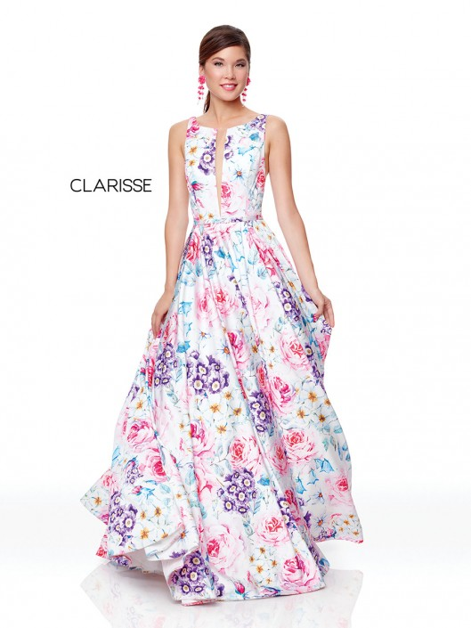 9b2441ca4489 Clarisse 3874 Colorful Floral Print Prom Dress: French Novelty