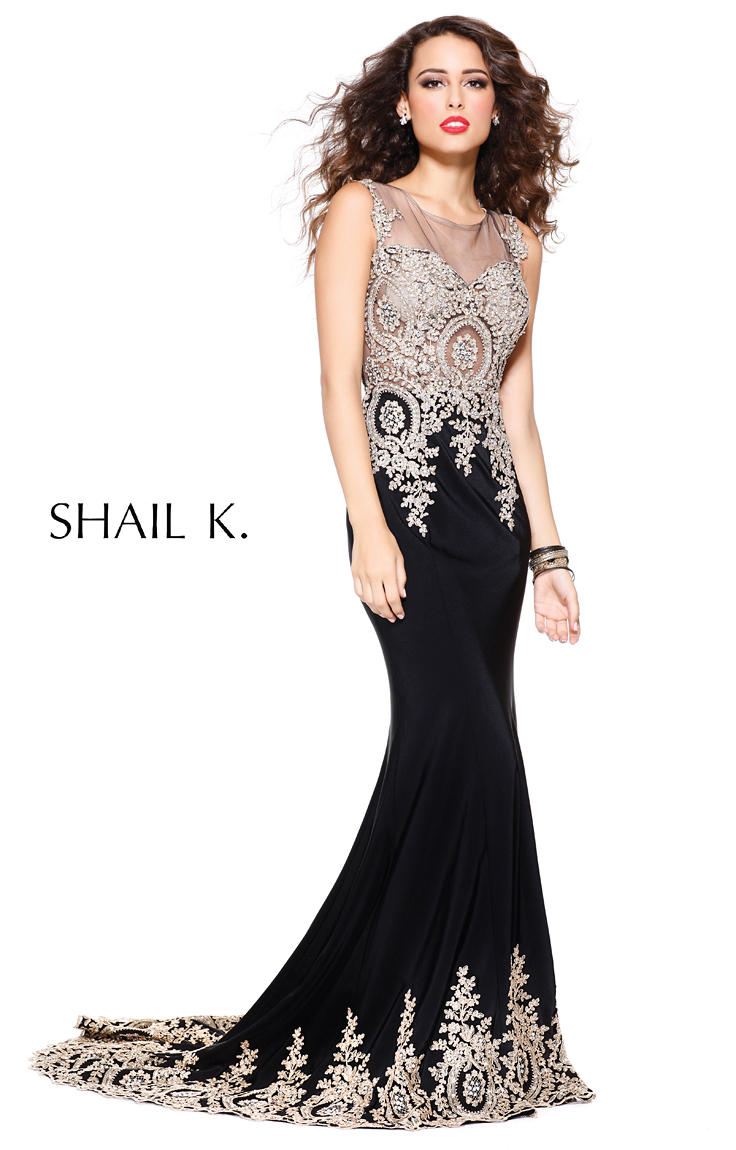 Shail K 3912 Classic Beaded Prom Dress: French