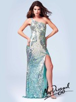 Size 4 Aqua Cassandra Stone 3912A by Mac Duggal One Shoulder Gown image