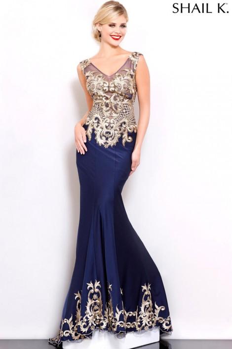 Shail K 3974 Beautifully Embellished Gown: French Novelty