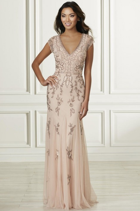 6f5c53e09dab Adrianna Papell Platinum 40160 Bridesmaid Dress with Godets: French Novelty