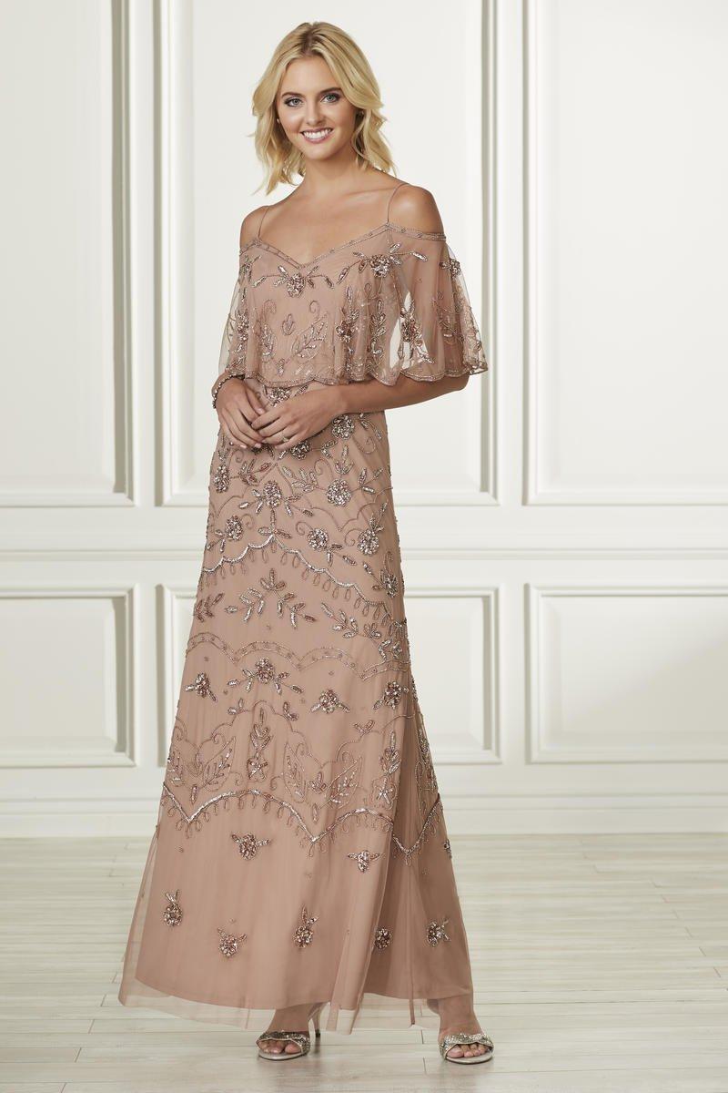 Adrianna Papell 40162 Popover Beaded Bridesmaid Dress