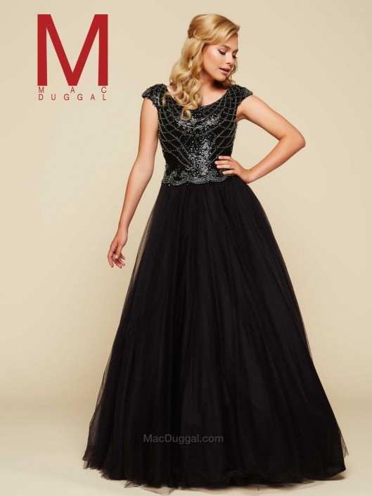 Mac Duggal 40506H Black Beaded Ball Gown: French Novelty