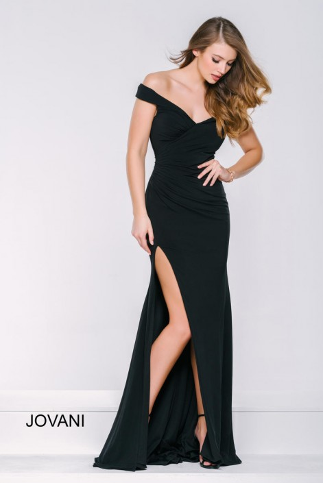 Jovani 40582 Off the Shoulder High Slit Gown: French Novelty