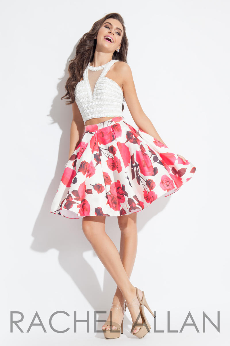 Rachel Allan 4087 Short 2pc Floral Print Prom Dress
