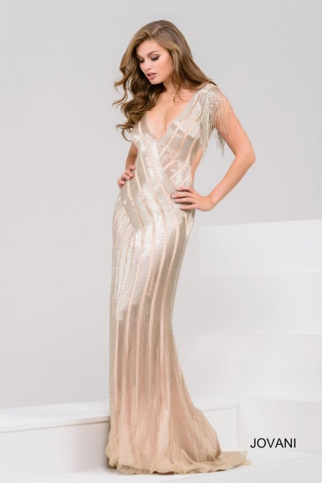 a72f2d3503d1 Jovani 40900 Dazzling Beaded Fringe Sleeve Gown: French Novelty