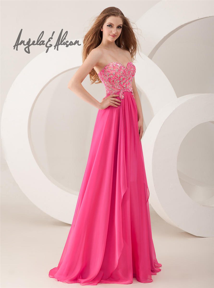 56389171f9a0 Angela and Alison 41028 Sequin Chiffon Evening Dress: French Novelty