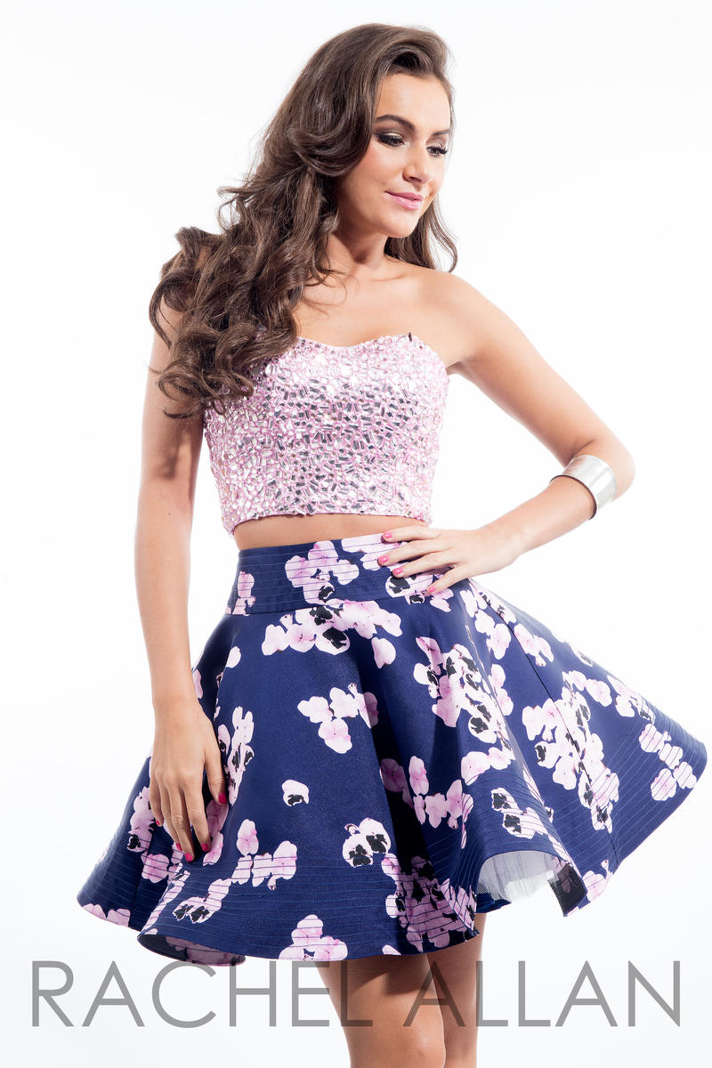 Rachel Allan 4106 Short Floral Print 2pc Prom Dress