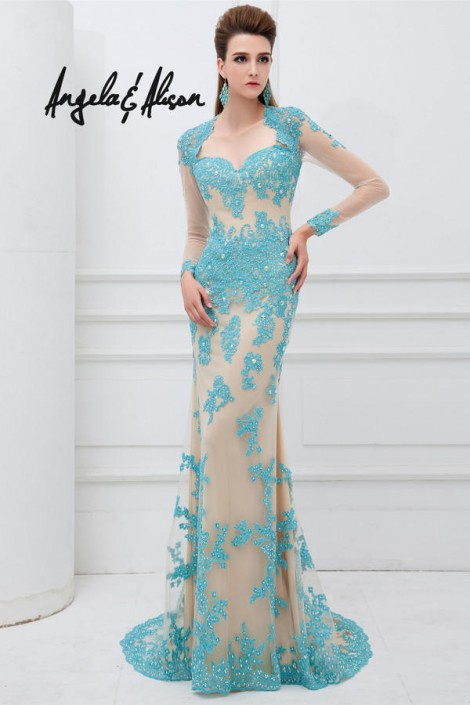 Angela and Alison 41101 Long Sleeve Open Back Gown: French Novelty
