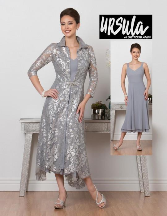 fce61058163 Ursula 41478T Plus Size Tea Length Mothers Dress with Jacket  French Novelty