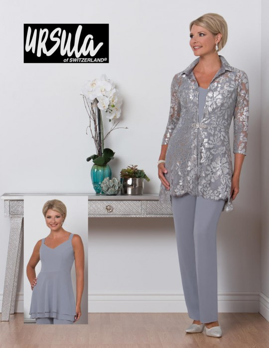 Ursula 41480 Plus Size Mother of Bride Pant Suit: French Novelty