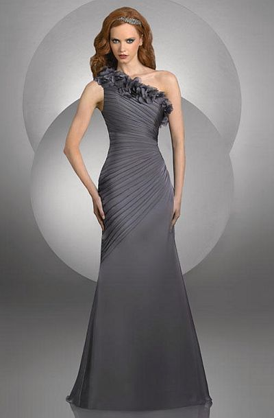 Bari Jay One Shoulder Bridesmaid Dress With Flowers 417