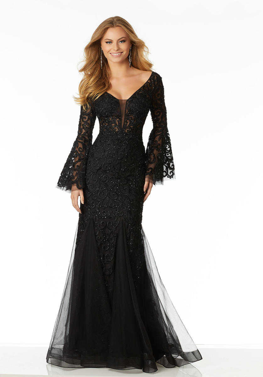 morilee 42008 bell sleeve beaded lace prom dress french