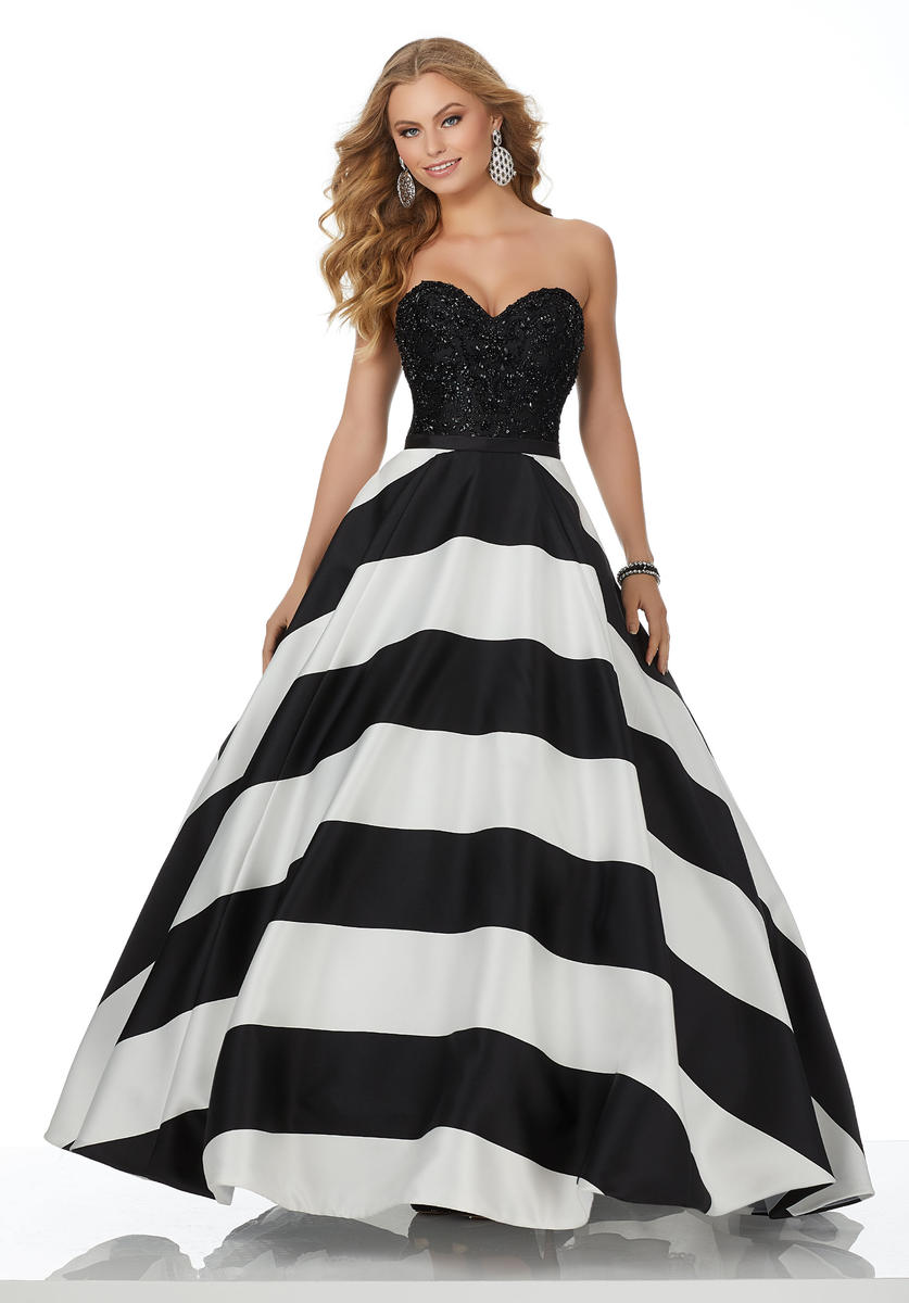 Morilee 42009 Prom Dress With Bold Stripe Skirt French