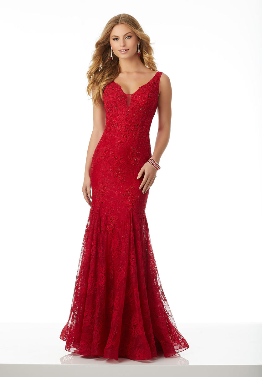 Morilee 42053 Beaded Lace Fitted Prom Dress French Novelty