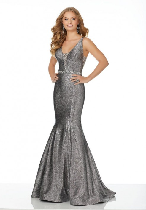 Morilee 42062 Metallic Knit Mermaid Prom Dress: French Novelty