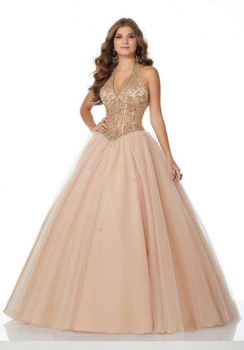 0afa7d94d581 Morilee 42081 Ball Gown with Sheer Beaded Halter Top: French Novelty