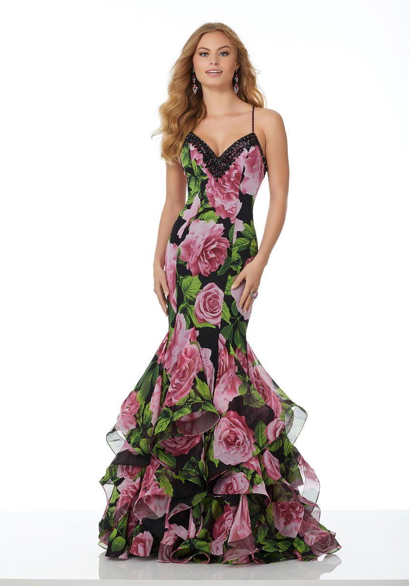 Morilee 42092 Floral Print Chiffon Mermaid Prom Dress