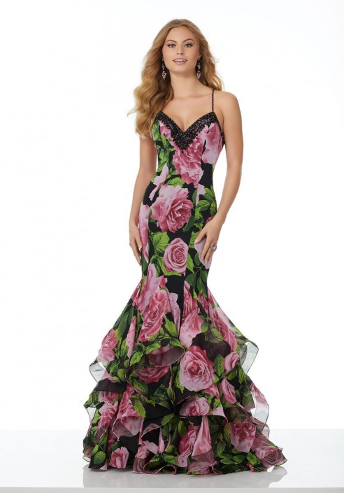 Morilee 42092 Floral Print Chiffon Mermaid Prom Dress: French Novelty