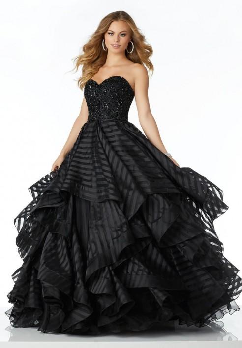 Mori Lee Black Prom Dresses Sheer