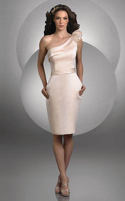 Bari Jay Short Satin One Shoulder Bridesmaid Dress 427: French Novelty